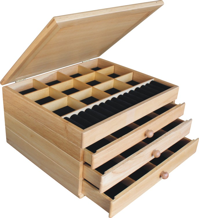Gifts for Mom for Christmas Jewelry Box 3 Drawer Birds Eye Cherry