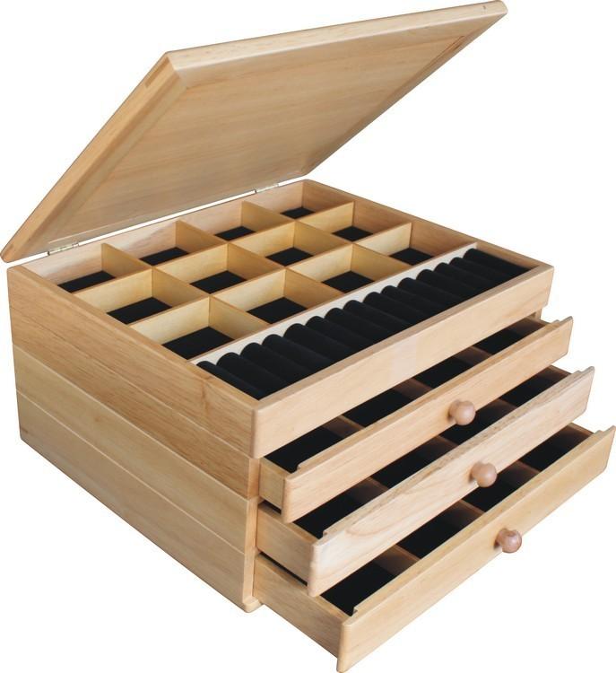 Zebra Wood Diamonds Jewelry Box 3 Drawer