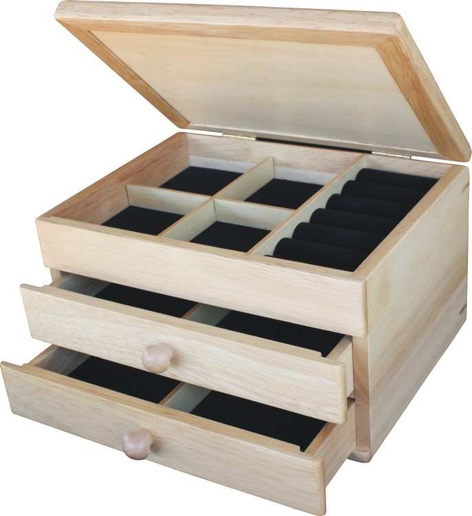Zebra Wood Diamonds Jewelry Box 2 Drawer