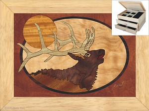 Bugling Elk Head - Jewelry Box 2 Drawer