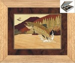 Trout jewelry box - inlay wood art - marquetry