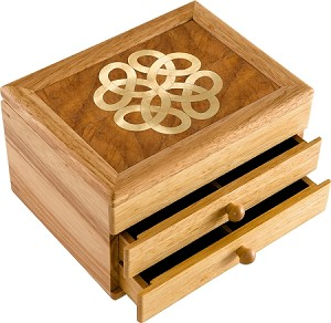 Celtic Knot Jewelry Box -Original Work of Wood Art -Unmatched Quality -Handmade in USA -Unique, No Two Are the Same - 2 Drawer, 6.2 x 8.1 x 5 Inches