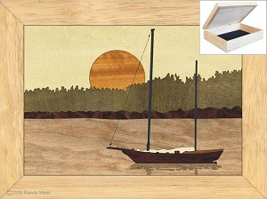 Sailboat in Harbor - Jewelry Box 4x5