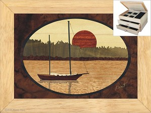 Sailboat in Harbor - Jewelry Box 2 Drawer